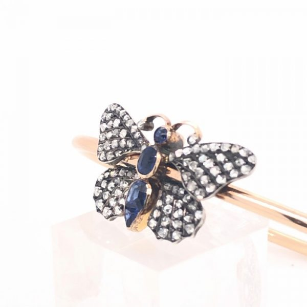 ANTIQUE SAPPHIRE AND DIAMOND BUTTERFLY BANGLE