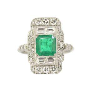 Art Deco emerald ring diamond panel platinum French