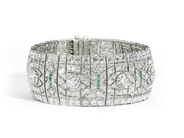 Antique Art Deco Emerald and Diamond Panel Bracelet Jewellery Discovery London