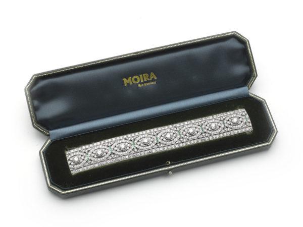 Antique Art Deco Emerald and Diamond Panel Bracelet