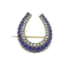 Antique Sapphire and diamond horseshoe brooch pendant