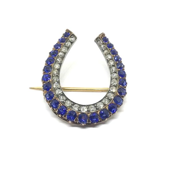 Antique Sapphire and diamond horseshoe brooch pendant