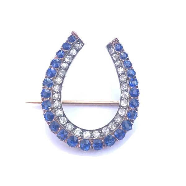 antique sapphire and diamond horseshoe brooch