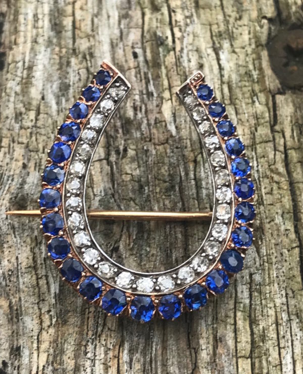 antique brooch sapphire diamond
