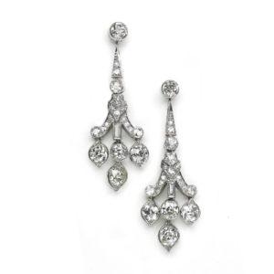 Art Deco diamond drop earrings platinum 1935