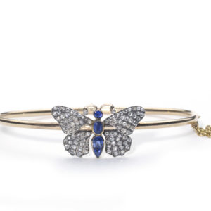 Antique Victorian Sapphire and Diamond Butterfly Bangle