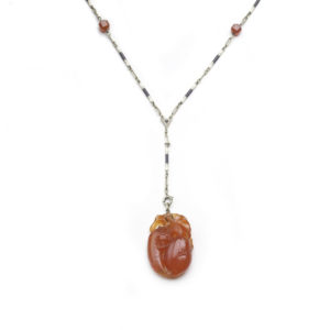Antique Art Deco Carved Carnelian and Enamel Chain Necklace