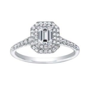 A beautiful diamonddouble halo engagement ring w