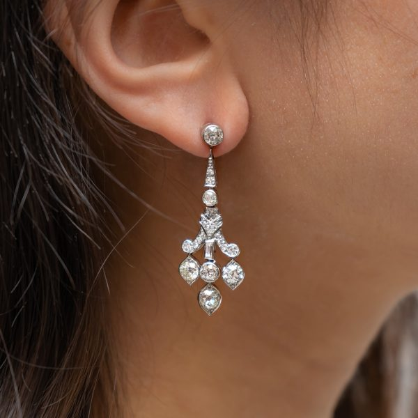 Art Deco Style Diamond Drop Earrings, Platinum