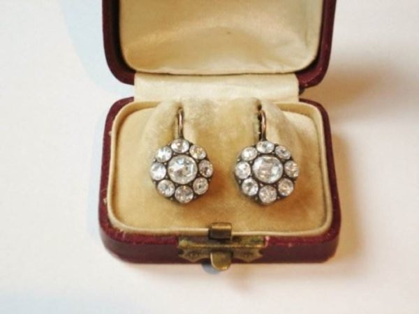 antique diamond cluster earrings rose cut diamonds 1880