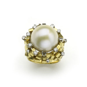 Vintage Pearl and Diamond Bombé Ring