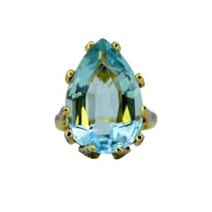 vintage aquamarine ring Pear shape yellow gold 12 carats Jewellery Discovery