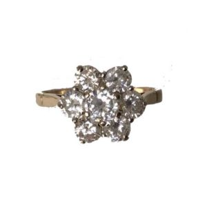 Vintage Diamond Daisy Cluster Ring, 1.53 Carats