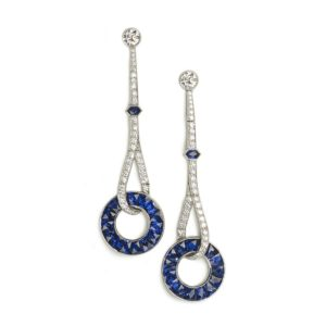 Art Deco style sapphire and diamond drop earrings platinum London Jewellery Discovery