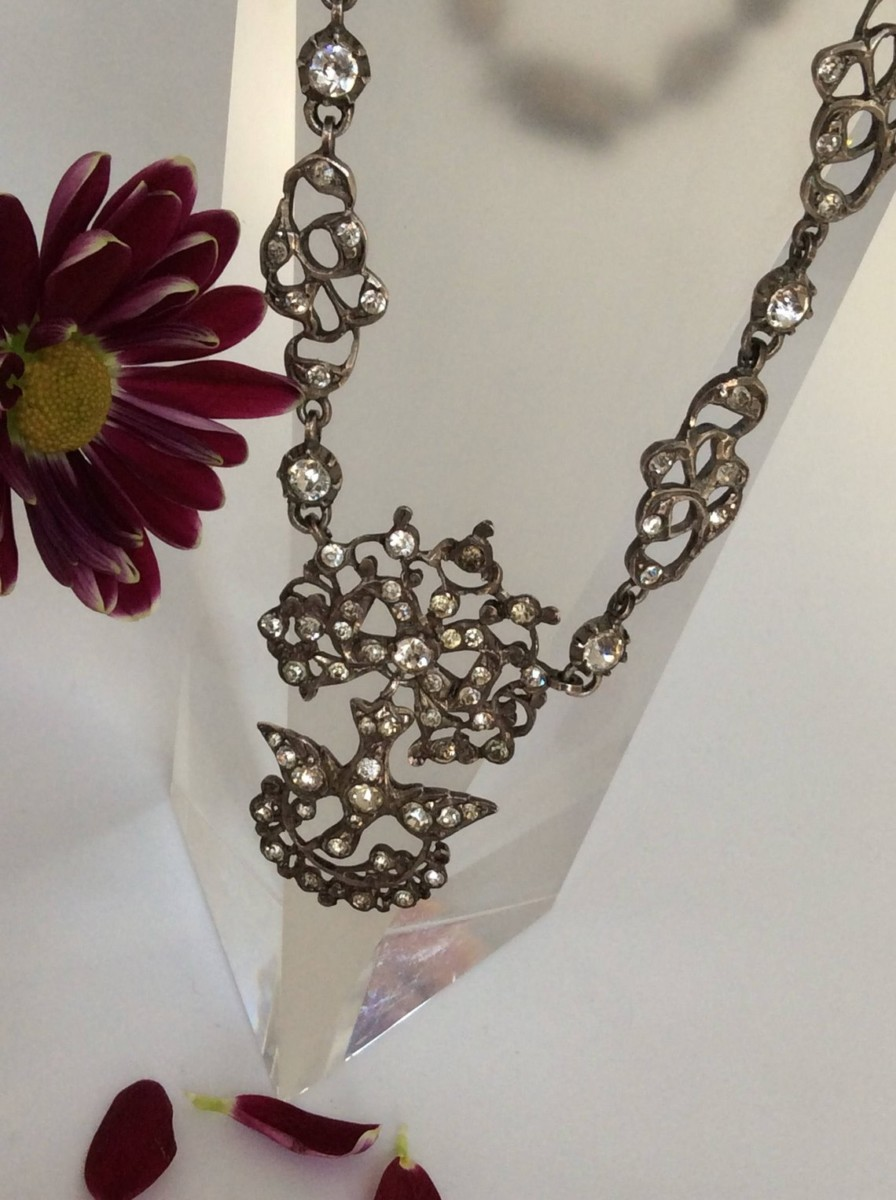 Rare Antique Georgian Silver Paste Choker Necklace Jewellery Discovery