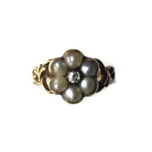 Antique Georgian Pearl and Diamond Flower Ring
