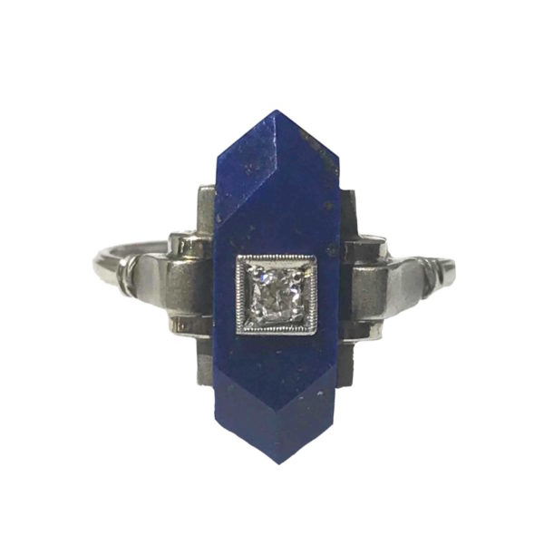 Art Deco Lapis Lazuli And Diamond Ring, C 1920's