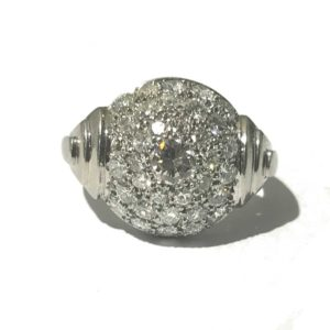 Art Deco diamond Bombé dress ring. platinum 1930's Jewellery Discovery