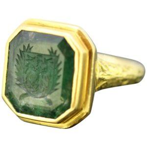 Antique Georgian Gents Emerald Ring