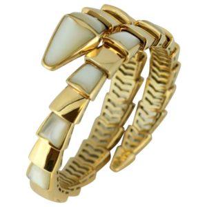 Bvlgari Serpenti Mother of pearl Yellow Gold Wrap Snake Bracelet