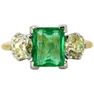 Antique Art Deco Emerald and Diamond Three Stone Ring