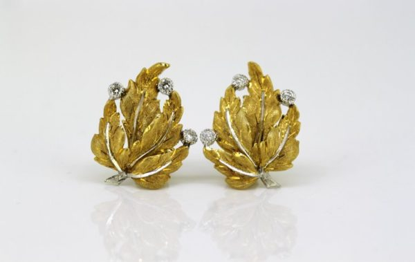 Vintage Buccellati Diamond Clip On Earrings