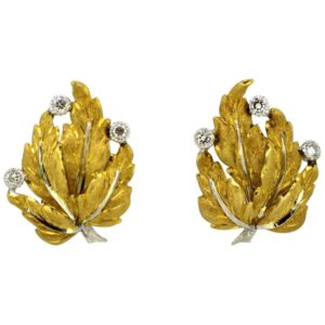 Vintage Buccellati Diamond Clip On Earrings