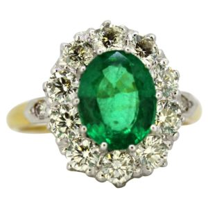 Vintage Emerald and Diamond Cluster Ring