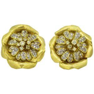Vintage Boris Lebeau Diamond Clip On Earrings
