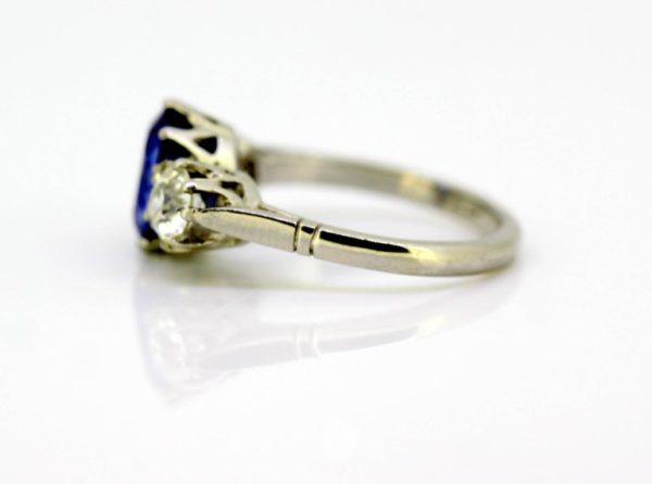 Antique Art Deco Ceylon Sapphire and Diamond Three Stone Ring