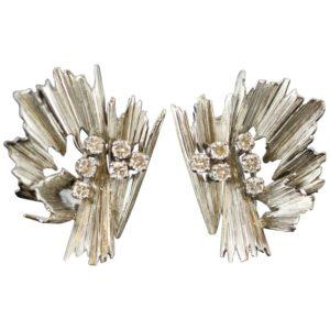 Vintage Boucheron Diamond Clip On Earrings