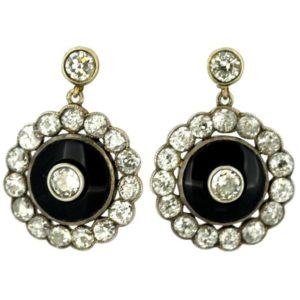 Antique Victorian Onyx and Diamond Earrings