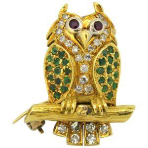 Vintage 18ct Yellow Gold Gem Set Owl Brooch