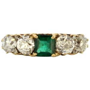 Vintage Emerald and Diamond Five Stone Ring
