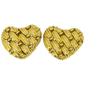 Vintage Tiffany and Co. 18ct Yellow Gold Heart Earrings