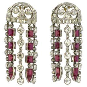 Vintage Ruby and Diamond Screw Back Chandelier Earrings