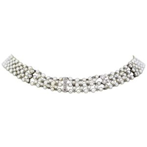 Antique Art Deco Freshwater Pearl and Diamond Necklace