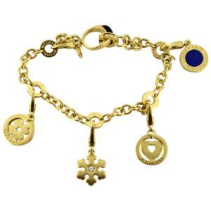 Vintage Bulgari Onyx and Lapis Lazuli Charm Bracelet