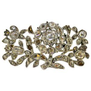 Antique Victorian Rose Cut Diamond Brooch