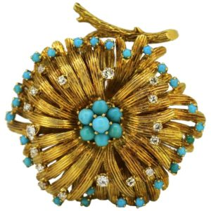 Vintage Turquoise and Diamond Gold Brooch