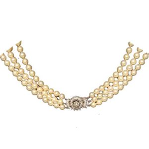 Vintage Three Row Pearl and Diamond Collar Necklace
