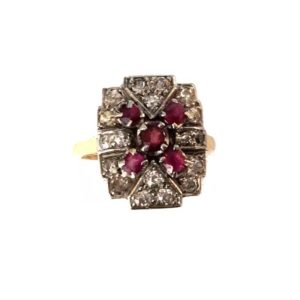 Antique Art Deco Ruby and Diamond Plaque Ring