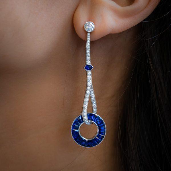 Art Deco Style Sapphire and Diamond Drop Earrings, Platinum