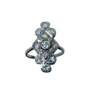 Art Deco diamond plaque ring,