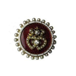 Antique Victorian Enamel, Diamond and Pearl Brooch