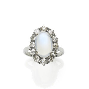 Moonstone and Diamond Cluster Ring