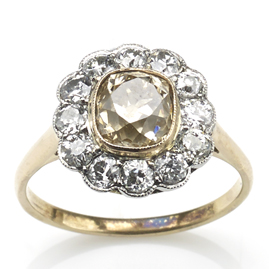Antique Edwardian Champagne Diamond Cluster Ring