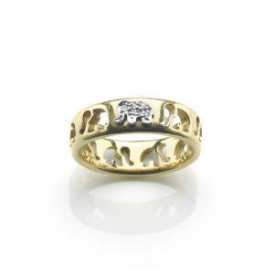 18ct Yellow Gold Diamond Elephant Ring