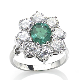 Colombian Emerald and Diamond Cluster Ring
