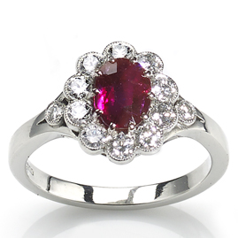 Burmese Ruby and Diamond Cluster Ring